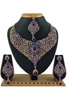Picture of Beautiful Blue Colored Stone Imitation Necklace Set