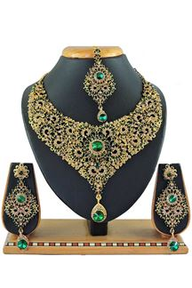Picture of Beautiful Green Colored Stone Imitation Necklace Set