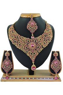 Picture of Beautiful Light Pink Colored Stone Imitation Necklace Set