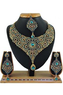 Picture of Beautiful Sky Blue Colored Stone Imitation Necklace Set