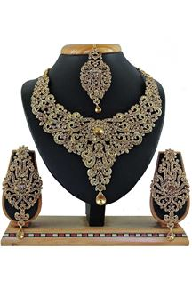 Picture of Beautiful Golden Colored Stone Imitation Necklace Set