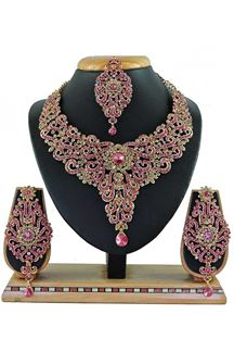 Picture of Beautiful Pink Colored Stone Imitation Necklace Set
