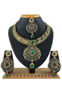 Picture of Stylish Green Colored Stone Imitation Necklace Set