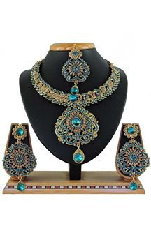 Picture of Stylish Sky Blue Colored Stone Imitation Necklace Set