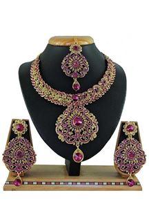 Picture of Stylish Rani Pink Colored Stone Imitation Necklace Set