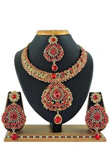 Picture of Stylish Red Colored Stone Imitation Necklace Set