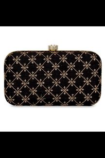 Picture of Fashionable Black Colored Designer Synthetic Fabric Clutches
