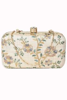 Picture of Fashionable Off white Colored Designer Synthetic Fabric Clutches