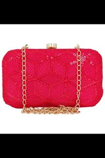 Picture of Fashionable Pink Colored Designer Synthetic Fabric Clutches