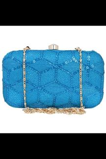 Picture of Fashionable Sky Blue Colored Designer Synthetic Fabric Clutches