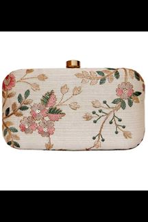 Picture of Fashionable Beige Colored Designer Synthetic Fabric Clutches