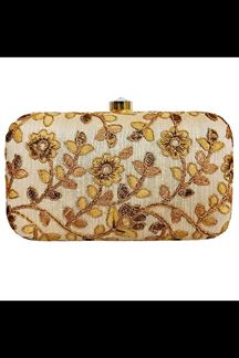 Picture of Fashionable Gold  Colored Designer Synthetic Fabric Clutches