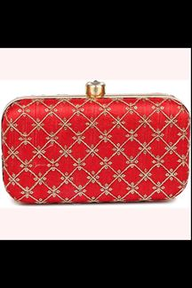 Picture of Fashionable Red Colored Designer Synthetic Fabric Clutches