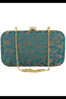 Picture of Fashionable Rama Green Colored Designer Synthetic Fabric Clutches