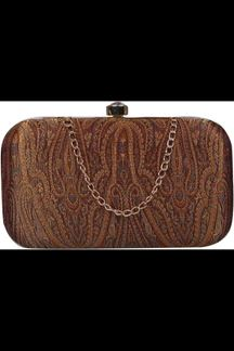 Picture of Fashionable Brown Colored Designer Synthetic Fabric Clutches
