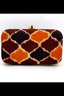 Picture of Fashionable Multi-Colored Designer Synthetic Fabric Clutches