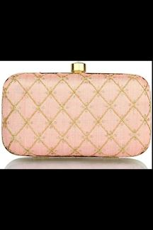 Picture of Fashionable Peach Colored Designer Synthetic Fabric Clutches