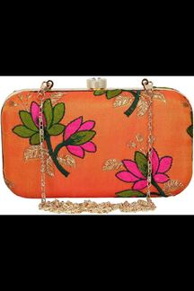 Picture of Fashionable Orange Colored Designer Synthetic Fabric Clutches