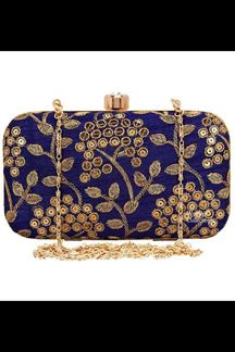Picture of Fashionable Blue Colored Designer Synthetic Fabric Clutches