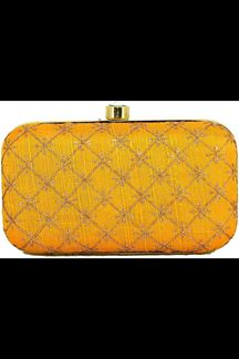 Picture of Fashionable Yellow Colored Designer Synthetic Fabric Clutches