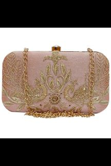 Picture of Embroidered Peach Colored Designer Synthetic Fabric Clutches