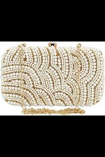 Picture of Embroidered White Colored Designer Synthetic Fabric Clutches