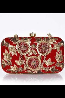 Picture of Embroidered Red Colored Designer Synthetic Fabric Clutches