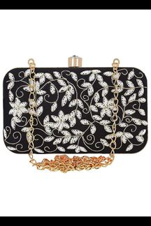 Picture of Embroidered Black Colored Designer Synthetic Fabric Clutches