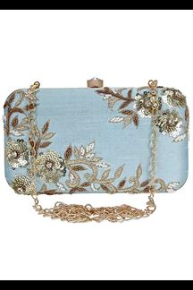 Picture of Embroidered Sky Blue Colored Designer Synthetic Fabric Clutches