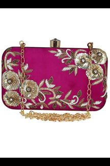 Picture of Embroidered Magenta Colored Designer Synthetic Fabric Clutches