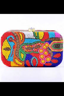 Picture of Embroidered Multi -Colored Designer Synthetic Fabric Clutches