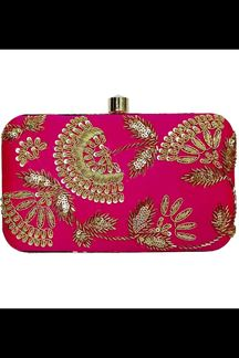 Picture of Embroidered Rani Pink Colored Designer Synthetic Fabric Clutches