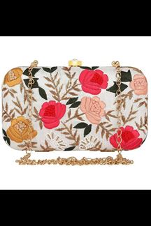 Picture of Embroidered Off-white Colored Designer Synthetic Fabric Clutches