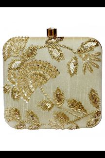 Picture of Embroidered Beige Colored Designer Synthetic Fabric Clutches