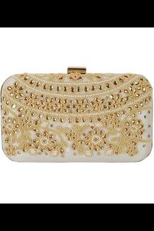 Picture of Embroidered Off White Colored Designer Synthetic Fabric Clutches