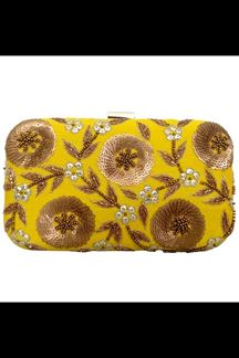 Picture of Embroidered Yellow Colored Designer Synthetic Fabric Clutches