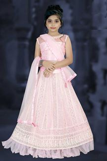 Picture of Partywear Pink Colored Net Designer Leheng Choli