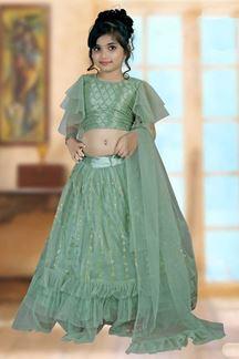 Picture of Striking Light Green Colored Designer Kids Lehenga Choli