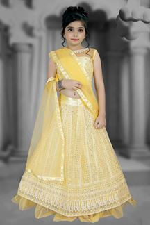 Picture of Partywear Yellow Colored Net Designer Leheng Choli