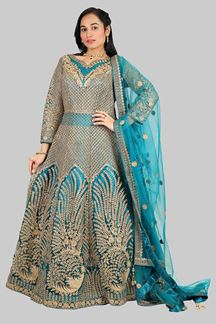 Picture of Exceptional Green Colored Net Gown