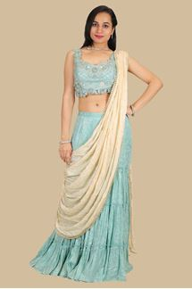 Picture of Designer Blue & Cream Colored Gharara Suit With Dupatta Attched