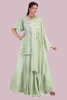 Picture of Desirable Pista Green Colored Designer Gown