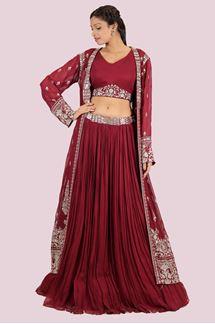 Picture of Exotic Marron Colored Designer Lehenga Choli Jacket style