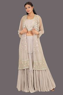Picture of Magnified Grey Colored Designer Indo Western Lehenga Choli