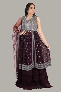 Picture of Wine Colored Designer Smashing Long Top With Lehenga