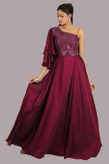 Picture of Eye-Catchy Wine Colored Designer Gown