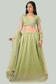 Picture of Exceptional Green Colored Lehenga Choli