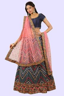 Picture of Exotic Blue Colored  Georgette lehenga Choli