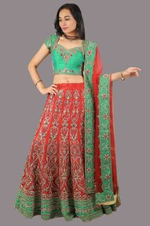 Picture of Outstanding Red & Green Colored Designer Lehenga Choli