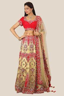 Picture of Smashing Cream & Red Colored Designer Lehenga Choli